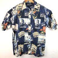 Keeler Bay Large  Hawaiian Tropical Island Blue Button Down Shirt New Free Ship