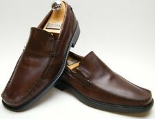 MENS ECCO BROWN LEATHER SLIP ON LOAFER MOC TOE DRESS SHOES SZ 43 USA 9-9.5