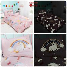 Glow in The Dark Unicorns/Rainbows Reversible Stars Single Duvet Quilt Cover Set