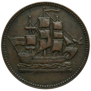 PRINCE EDWARD ISLAND Bank Token ND(1835) AXF 'Ships Colonies & Commerce'