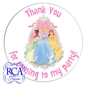 24 x Kids Birthday Thank You 45mm Circle Stickers Disney Princess Designs