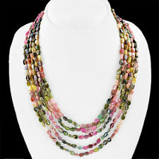 BUYERS DEMANDED 340.90 CTS NATURAL WATERMELON TOURMALINE 5 LINE BEADS NECKLACE
