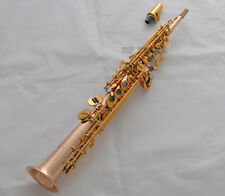 Professional Rose Brass Neck Built-in Soprano Saxophone High F# G Key Sax Newest