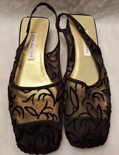 Ann Marino NWOT Womens Black Design See Through Slingbacks Shoes Size 6.5 M