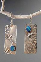 Thai 925 Silver Turquoise Handmade Hook Asymmetry Dangle Earrings Jewelry Gift