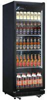 Flaschenkühlschrank Getränkekühlschrank 230 Liter mit Glastür, schwarz, 4 Roste