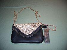 NWT Street Level Purse Handbag with Chain Strap Black Leopard Spots Multi Pouch