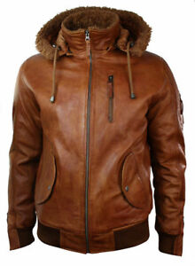 Mens Biker Retro Brown Detach Hooded Fur Real Leather Bomber Motorcycle Jacket