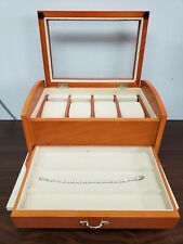 OAK 7 SLOT WATCH & BRACELET JEWELRY BOX CASE WITH LARGE GLASS TOP DISPLAY