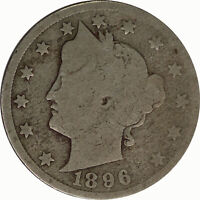1896 5C Liberty V Nickel Raw Circulated US Coin