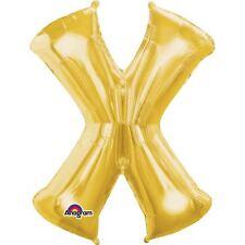 """Carta X globo hoja de oro 16"""" 40cm Aire Llenar edad Nombre Cumpleaños Aniversario"""