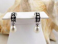 """Honora """"Pallini"""" White Freshwater Cultured Pearl Dangle Earrings estate"""