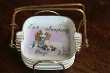 VINTAGE ASH TRAY SET IN CARRY STAND