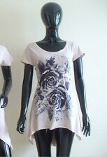 WHOLESALE RETAIL JOBLOT 4 COTTON LADIES EMBELLISHED TSHIRT TOP VEST, DUSTY PINK