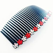 USA Hair Comb Rhinestone Crystal Hairpin French Twist Party Dancer Flower Red 01