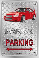 Parking Sign Metal SUBARU WRX V2 4DOOR RED FACTORY RIMS - Checkerplate Look