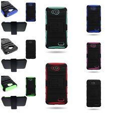 For LG Optimus L90 Belt Clip Holster Cover + Hybrid Armor Phone Cover Case