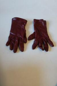 WOMENS SAKS FIFTH AVENUE WINE RED LINED CASHMERE LEATHER GLOVES 7.5 *