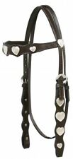Brown Leather Western Bridle w/Silver Heart Conchos & Split Reins Horse Size