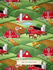 Farm Red Barn Cow Pig Farms Scenic Cotton Fabric Timeless Treasures C2572 - Yard