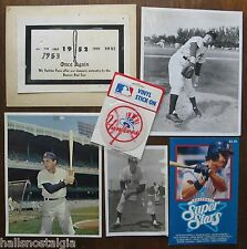 6 NY Yankees Items: Old Photos (Ed Lopat, etc), Don Mattingly Booklet, Stick-On