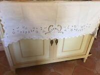 Beautiful Vintage French Hand Embroidered Cutwork Fine Linen Shelf Cover Runner