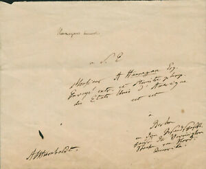 Alexander von Humbolt SIGNED AUTOGRAPHED Explorer & Naturalist to E Hannegan