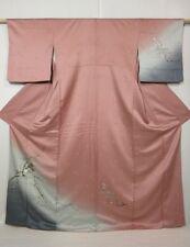 M4216M01z1020 Japanese Kimono Silk TSUKESAGE Ash pink Plum branch