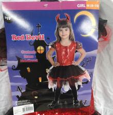 RED DEVIL GIRLS HALLOWEEN DRESS COSTUME W/ HEADBAND, GIRLS SIZE MEDIUM 8-10, NEW
