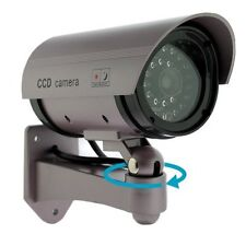 Realistic Fake Dummy CCTV Security Camera Flashing Red LED Indoor Outdoor Silver