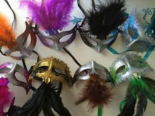 Lot 15 party masks costume venetian masquerade Mardi Gras Feather Wedding Quince