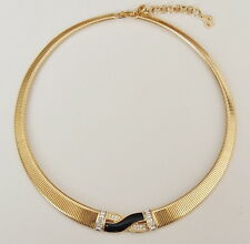 CRISTIAN DIOR Vintage Necklace Choker Gold Plated Rhinestone Enamel