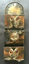 Vintage 1976 ENESCO Metal Owl Mail Holder Nobody's Perfect Wall Letter Organizer
