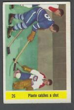 1958-59 Parkhurst Hockey Card #26 Jacques Plante Catches A Shot