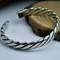 Real Solid 925 Sterling Silver Cuff Bracelet Braided Men's Women's