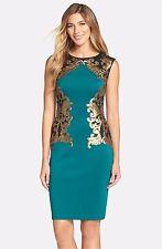 NWT Tadashi Shoji Sequin Neoprene Dress Green/Gold EM/BL [SZ XS] #N602