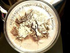 "Cook Islands 2018 - 7 Summits ""ACONCAGUA""  5 Oz Silver Coin."