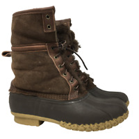 LL Bean Signatures Bean Boots Shearling Lined Brown Leather Fold Over US Size 9M