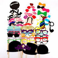 58pcs Photo Booth Props Moustache on A Stick Weddings Christmas Birthday JIPK