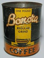 Rare Old Vintage 1940s BONORA COFFEE TIN GRAPHIC ONE 1 POUND CAN DES MOINES IOWA