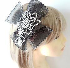 Beautiful large black net bow & diamante motif headband - aliceband - fascinator