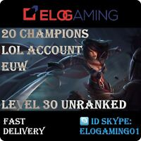 League of Legends Level 30 | LoL smurf | Unranked 20 Champions | Account EUW