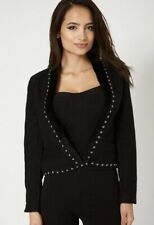 Black Long Sleeve Coat Jacket With Faux Hair Trim And Studs Size Large