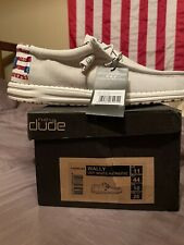 Hey Dude Shoes Men's Wally Patriotic American Flag Off-White Red Blue Size 11