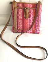 FOSSIL WOMEN'S MESSENGER  BAG FABRIC/ LEATHER STRAP TRIM HANDBAG