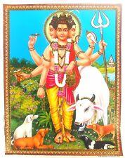 BILD Vishnu / Shiva und Nandi Hinduismus Prägedruck INDIEN Poster  (301