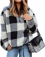 BTFBM Womens Sherpa Pullover Quarter Zip Long Sleeve, Plaid Black, Size Large bJ