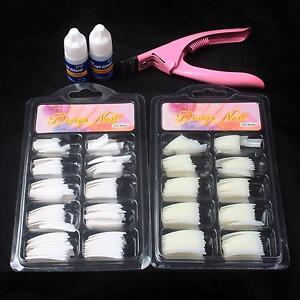 US~Nail Art Set 200PCS False Nail Tips & Nail Cutter Clipper & 2pcs Strong Glue
