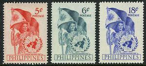 Philippines 569-571, MI 540-542, MNH. United Nations Day, Emblem, Flag, 1951