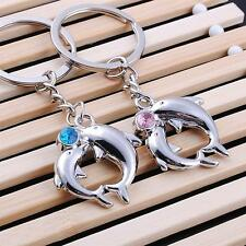 His&Her Lover Couple Key chain Ring Rhinestones dolphin Romantic Gift 1set=2 pcs